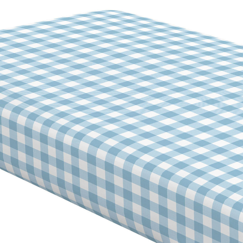 Product image for Lake Blue Gingham Crib Sheet