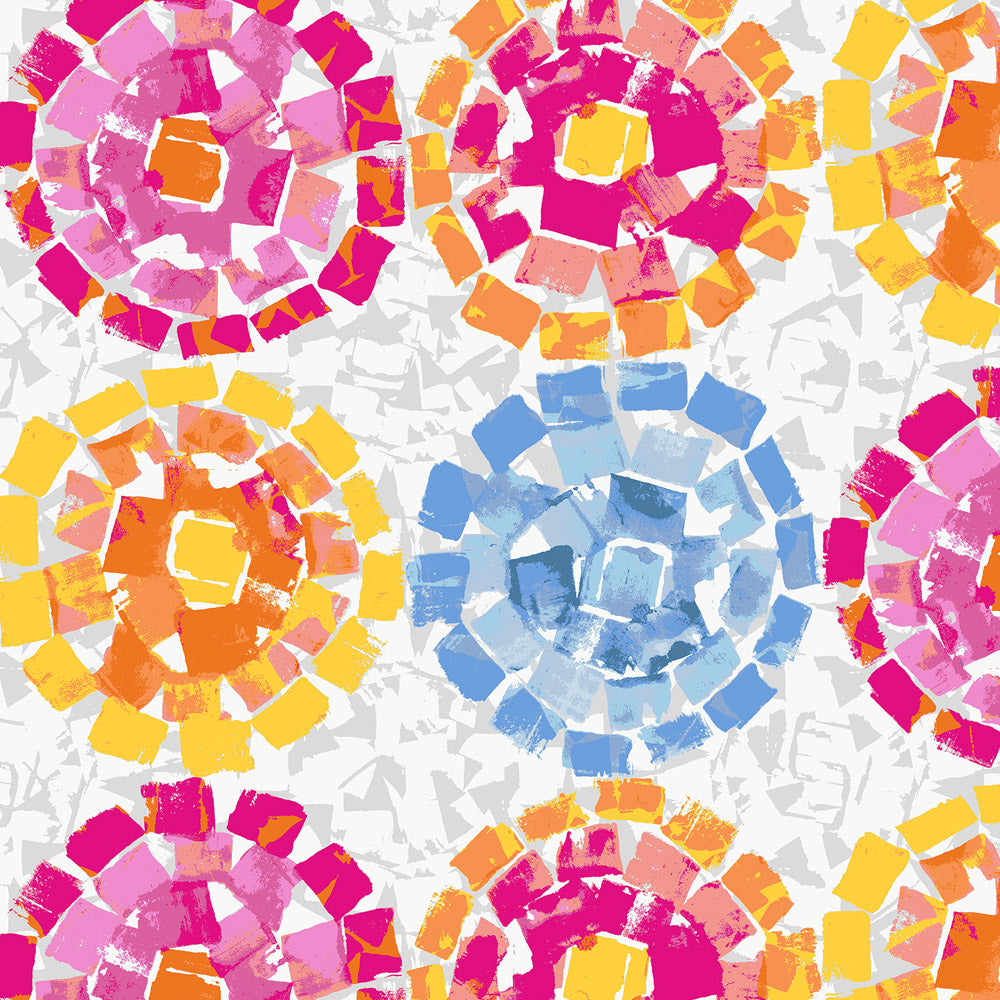 Product image for Pink and Blue Modern Mosaic Fabric