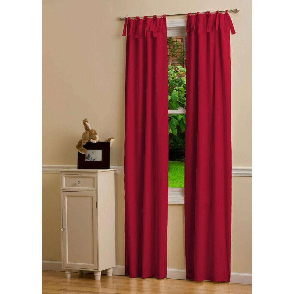 Product image for Solid Red Drape Panel with Ties