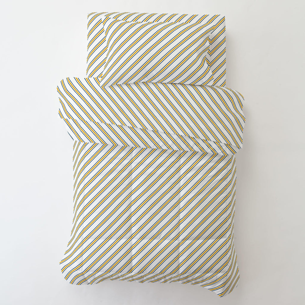 Product image for Navy and Yellow Necktie Stripe Toddler Sheet Bottom Fitted