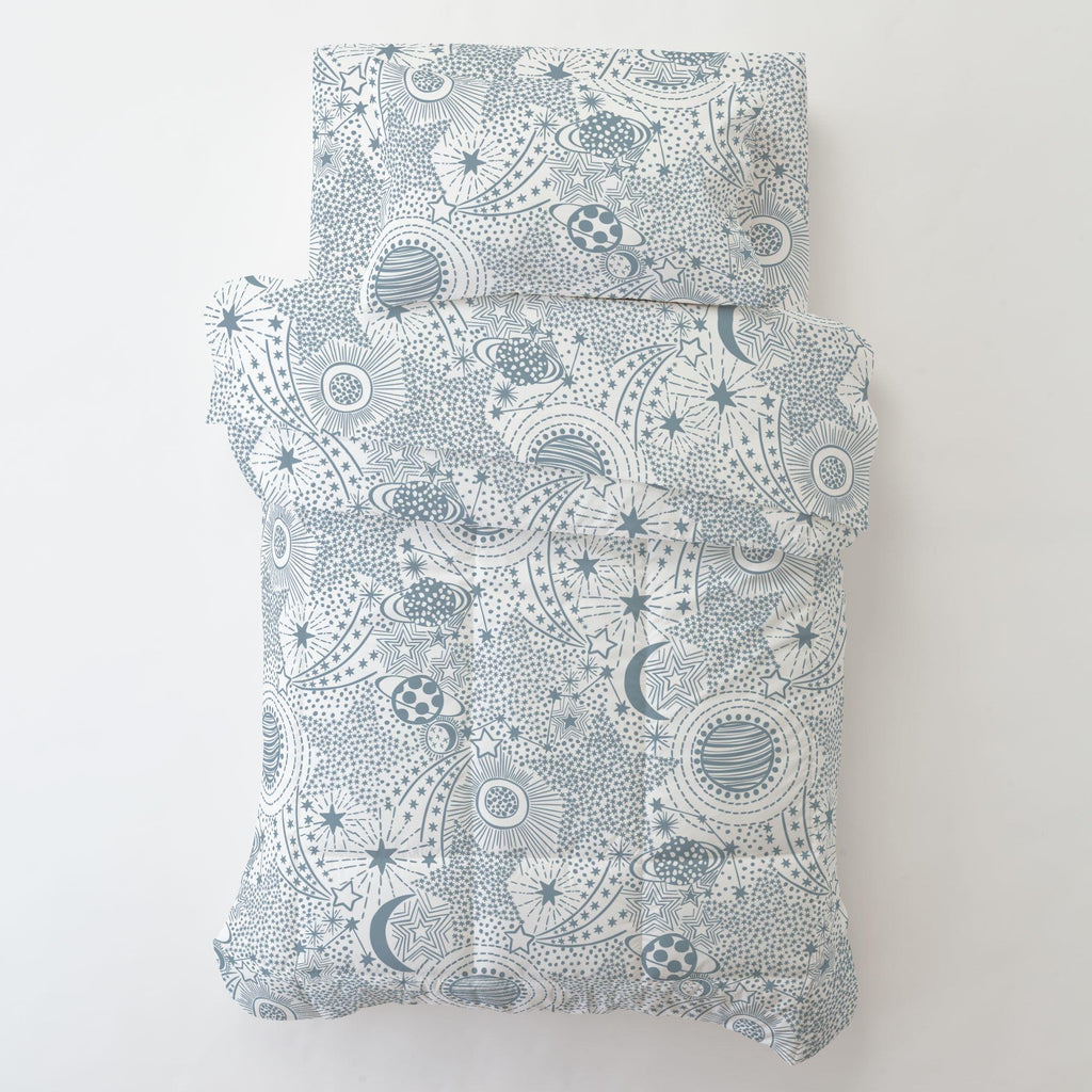 Product image for Steel Blue Galaxy Toddler Sheet Bottom Fitted