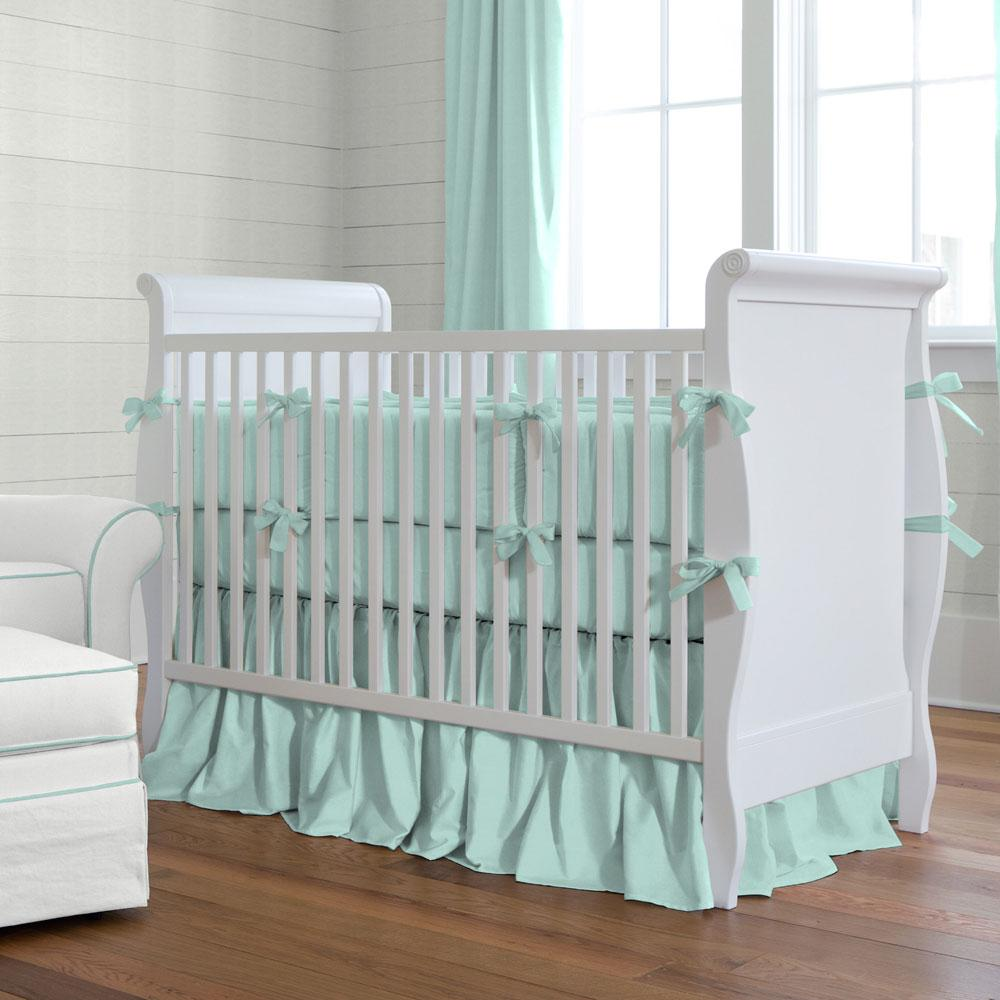 Product image for Solid Seafoam Aqua Crib Comforter with Piping