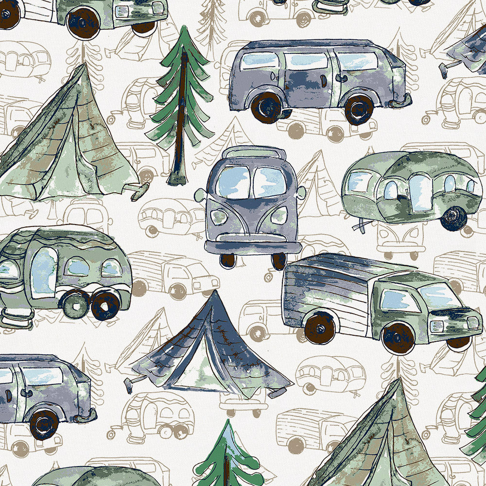 Product image for Navy and Seafoam Gone Camping Mini Crib Sheet