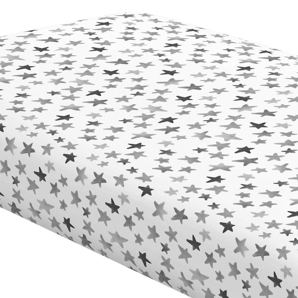 Product image for Gray Watercolor Stars Crib Sheet