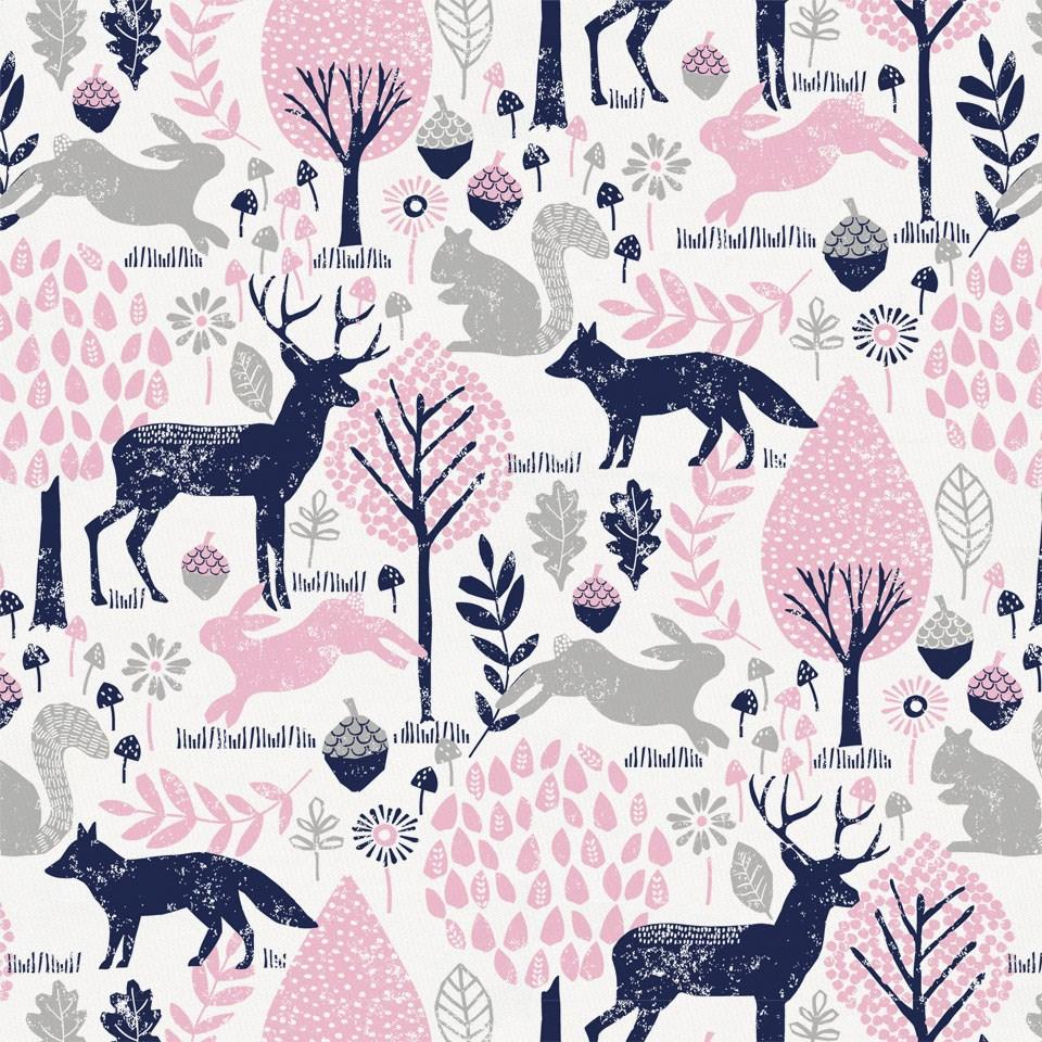 Product image for Bubblegum Pink and Navy Woodland Animals Fabric