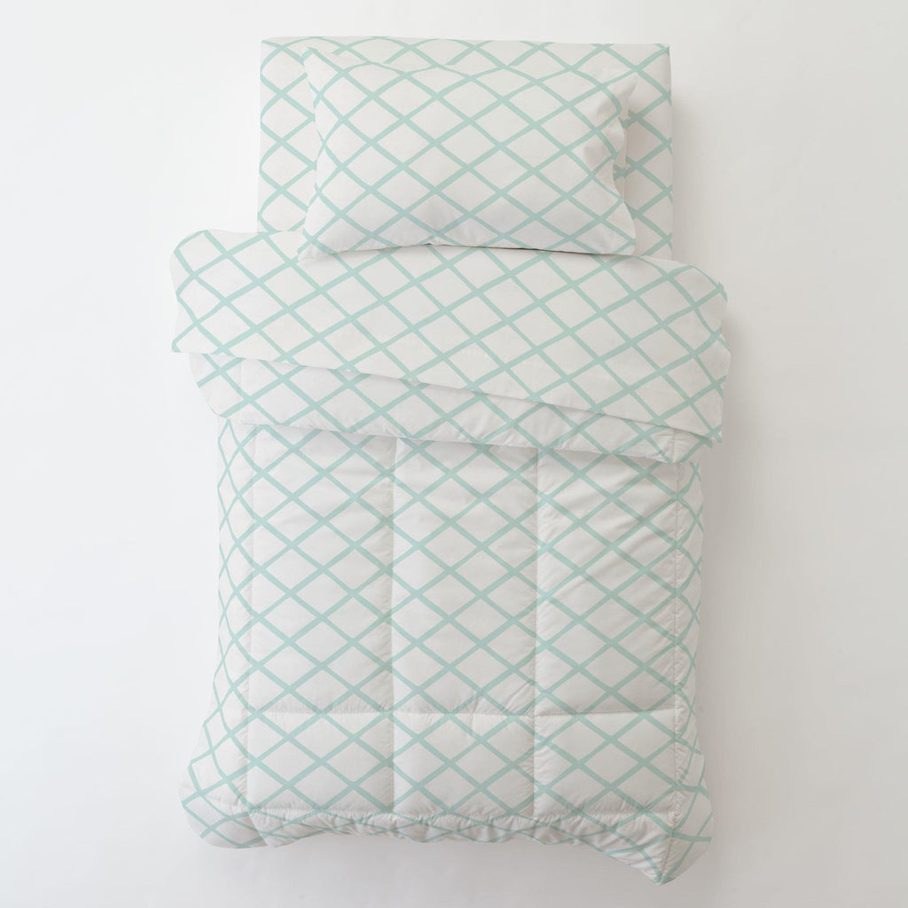 Product image for Icy Mint Trellis Toddler Sheet Bottom Fitted
