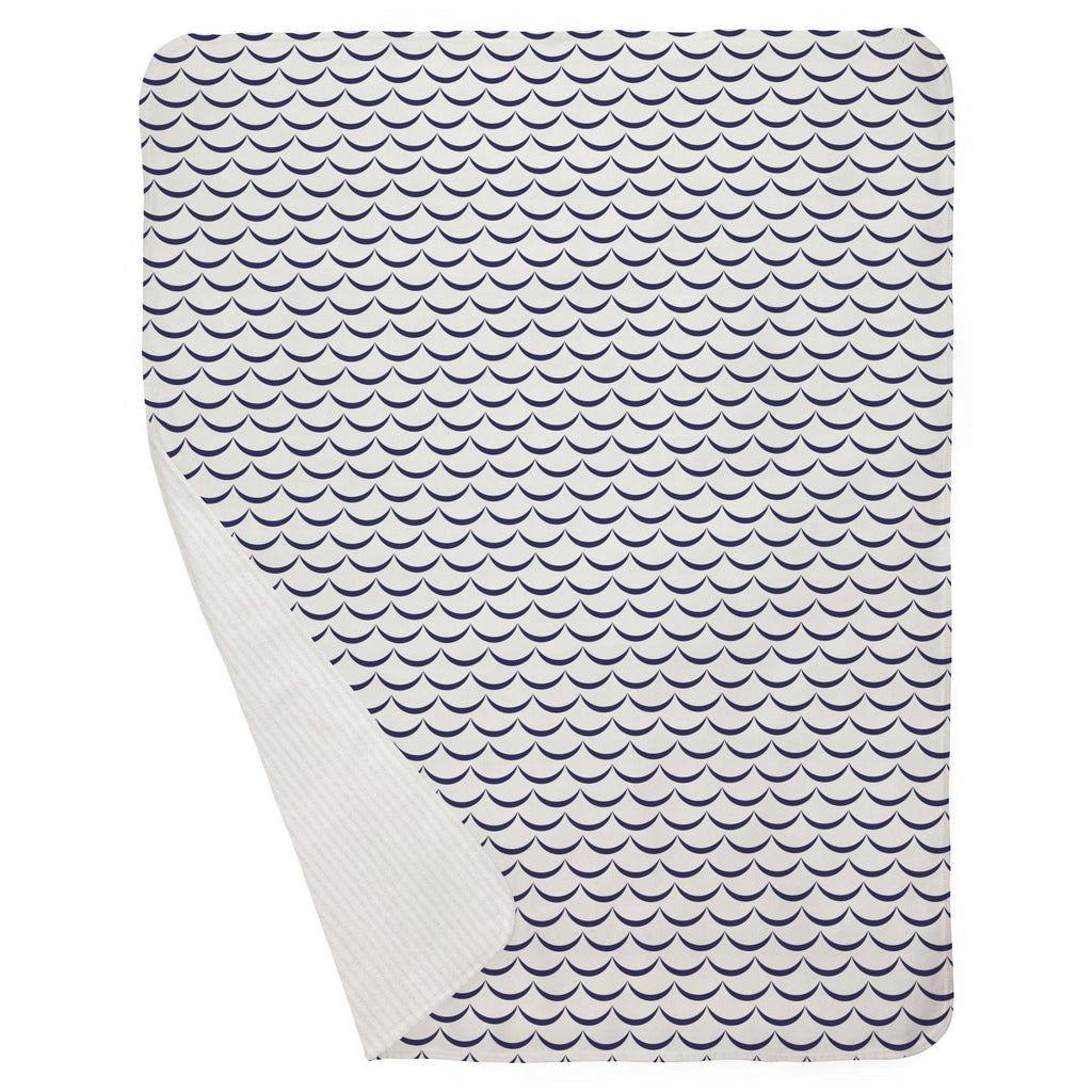 Product image for White and Navy Waves Baby Blanket