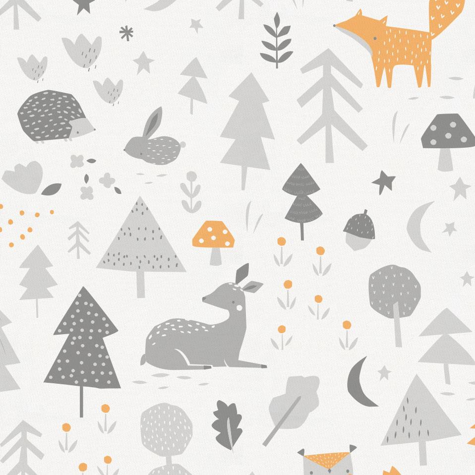 Product image for Light Orange and Silver Gray Baby Woodland Pillow Case