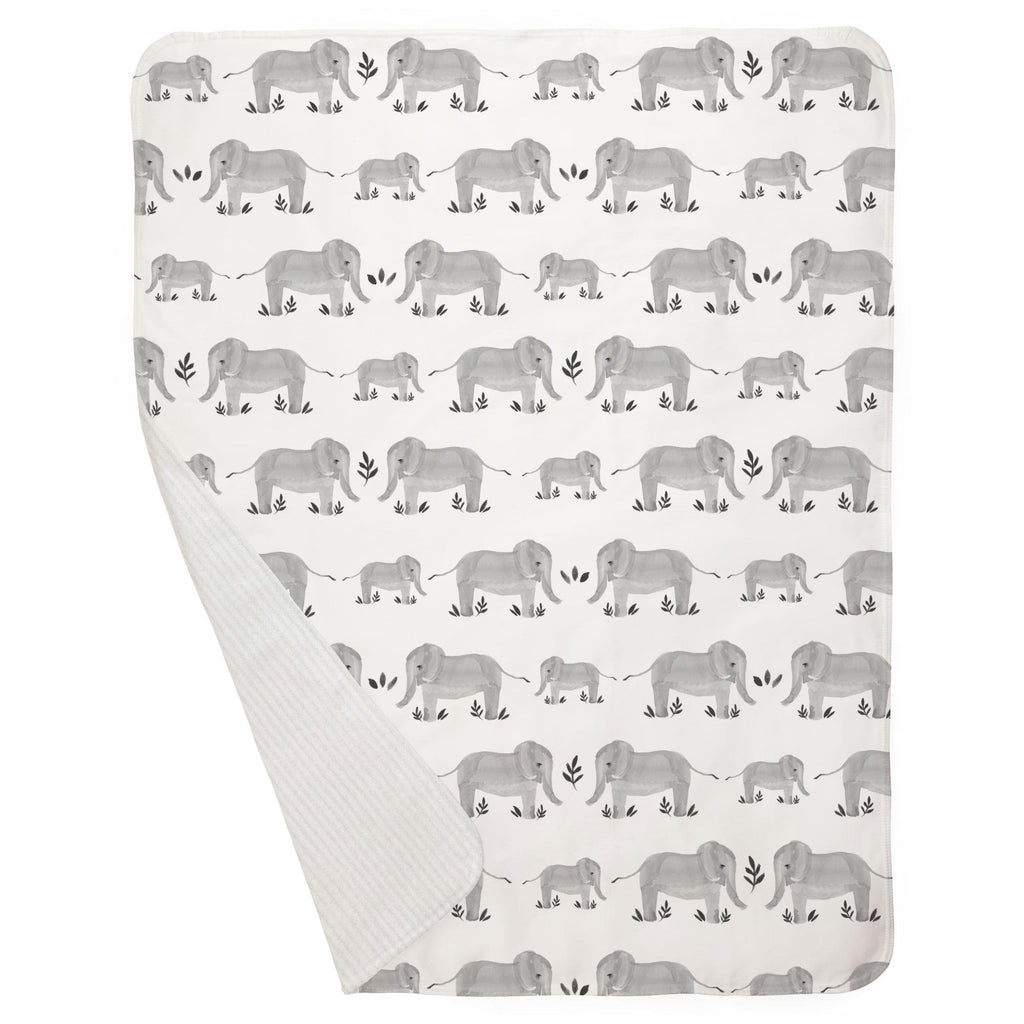 Product image for Gray Painted Elephants Baby Blanket
