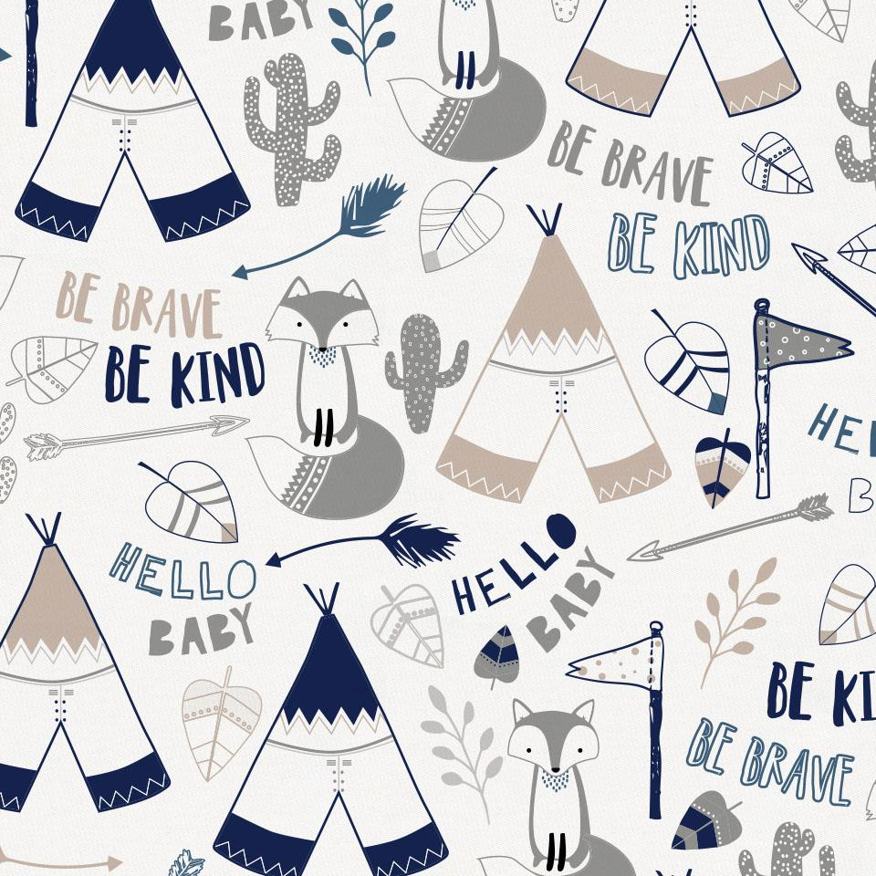 Product image for Navy Brave Fox Mini Crib Sheet