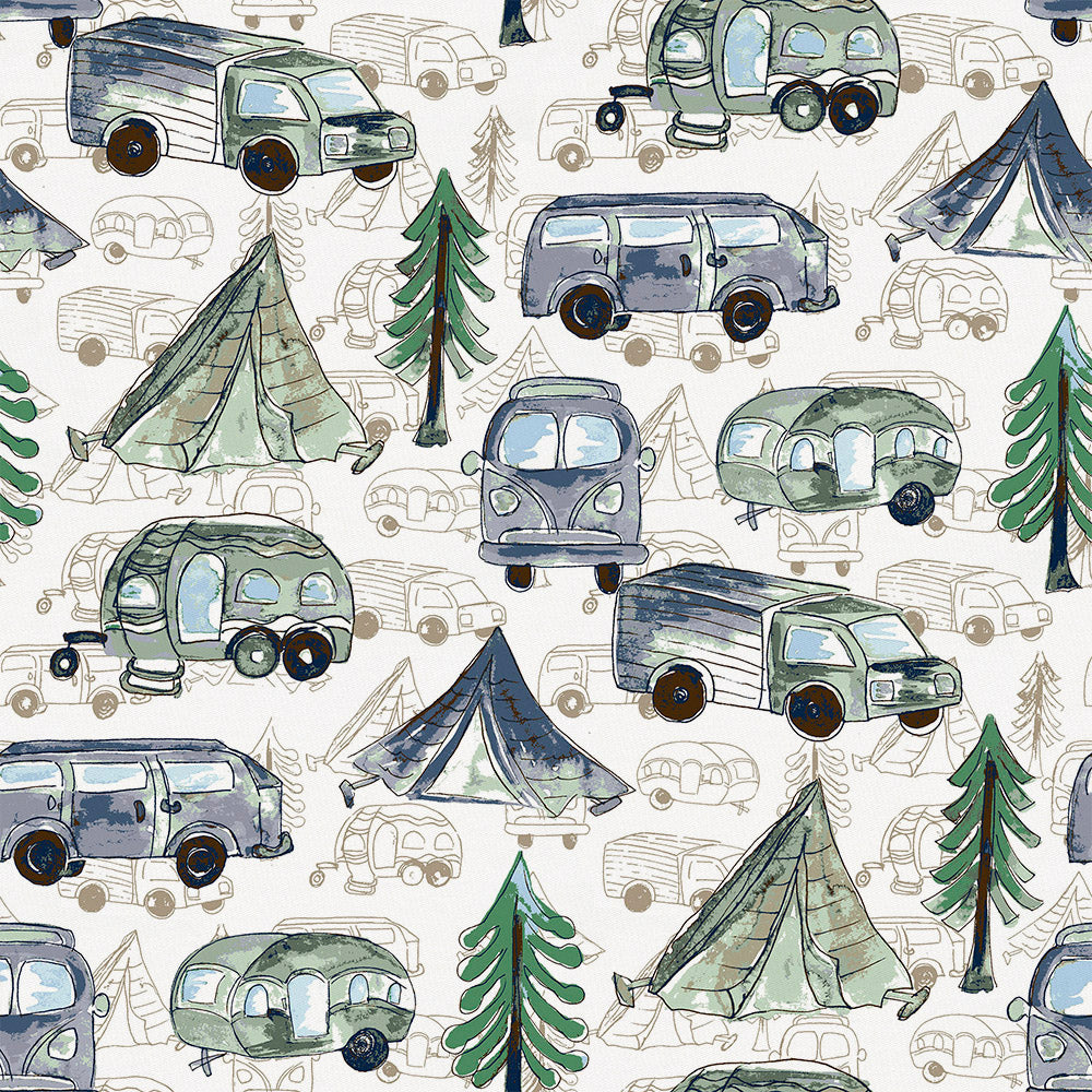 Product image for Navy and Seafoam Gone Camping Fabric