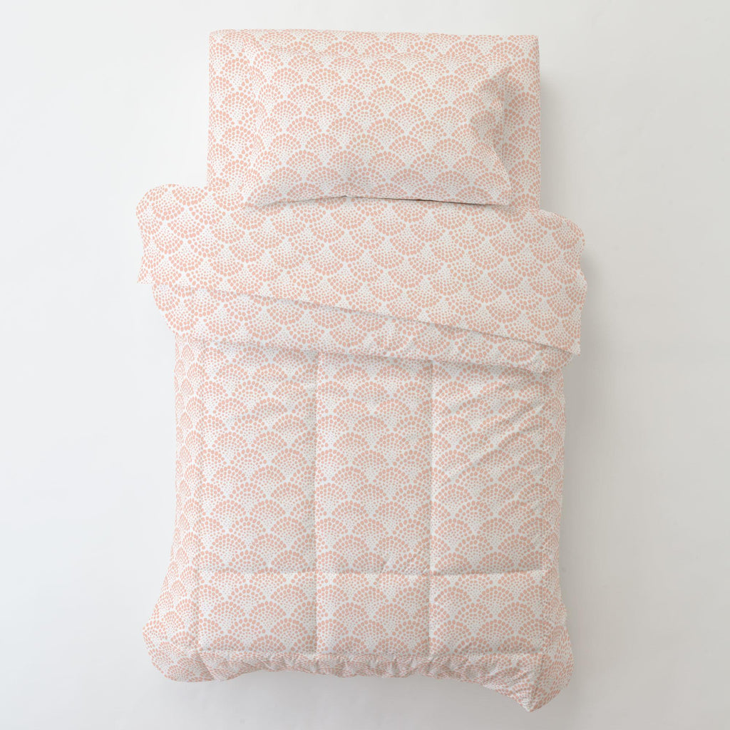 Product image for Peach Scallop Dot Toddler Sheet Bottom Fitted