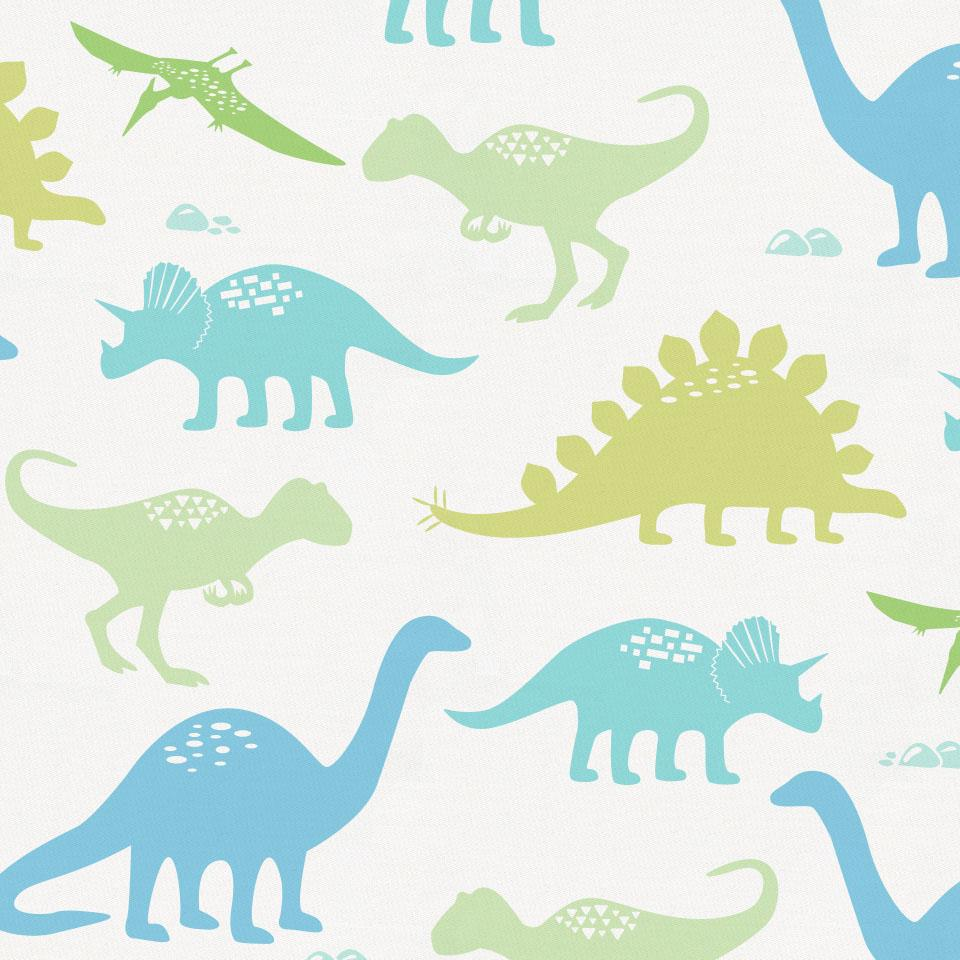 Product image for Seafoam Aqua and Pastel Green Dinosaurs Crib Skirt Gathered