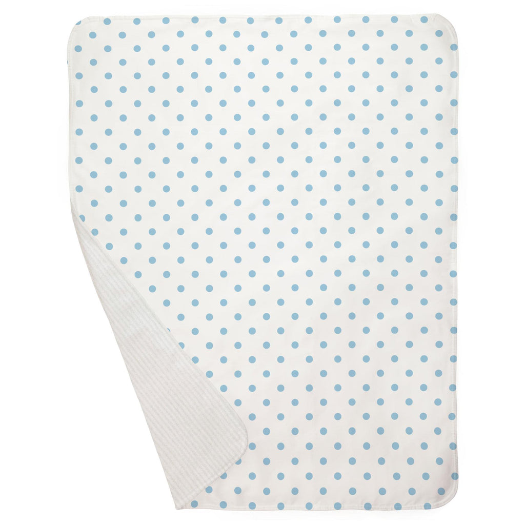 Product image for White and Lake Blue Dot Baby Blanket
