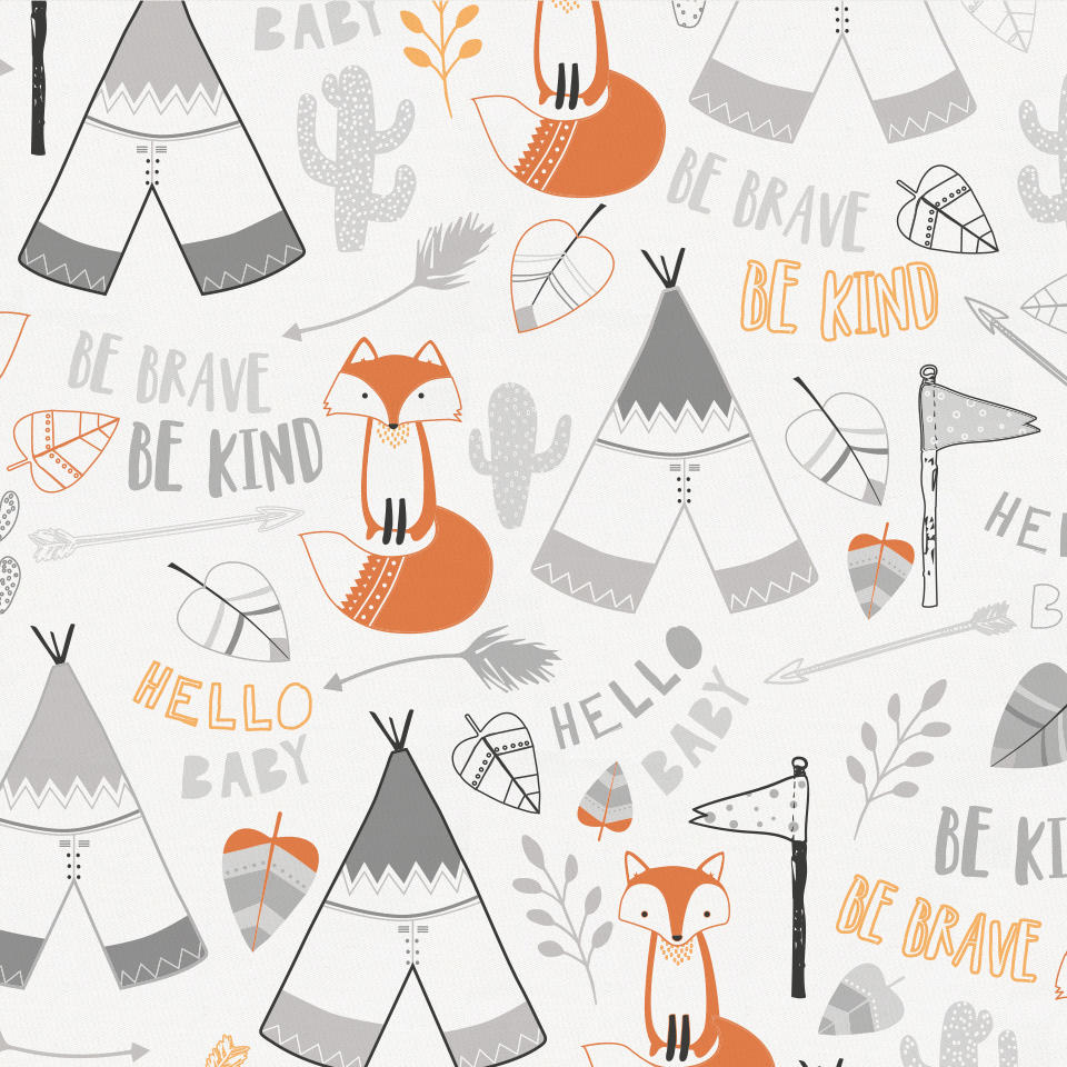 Product image for Brave Fox Crib Skirt Gathered