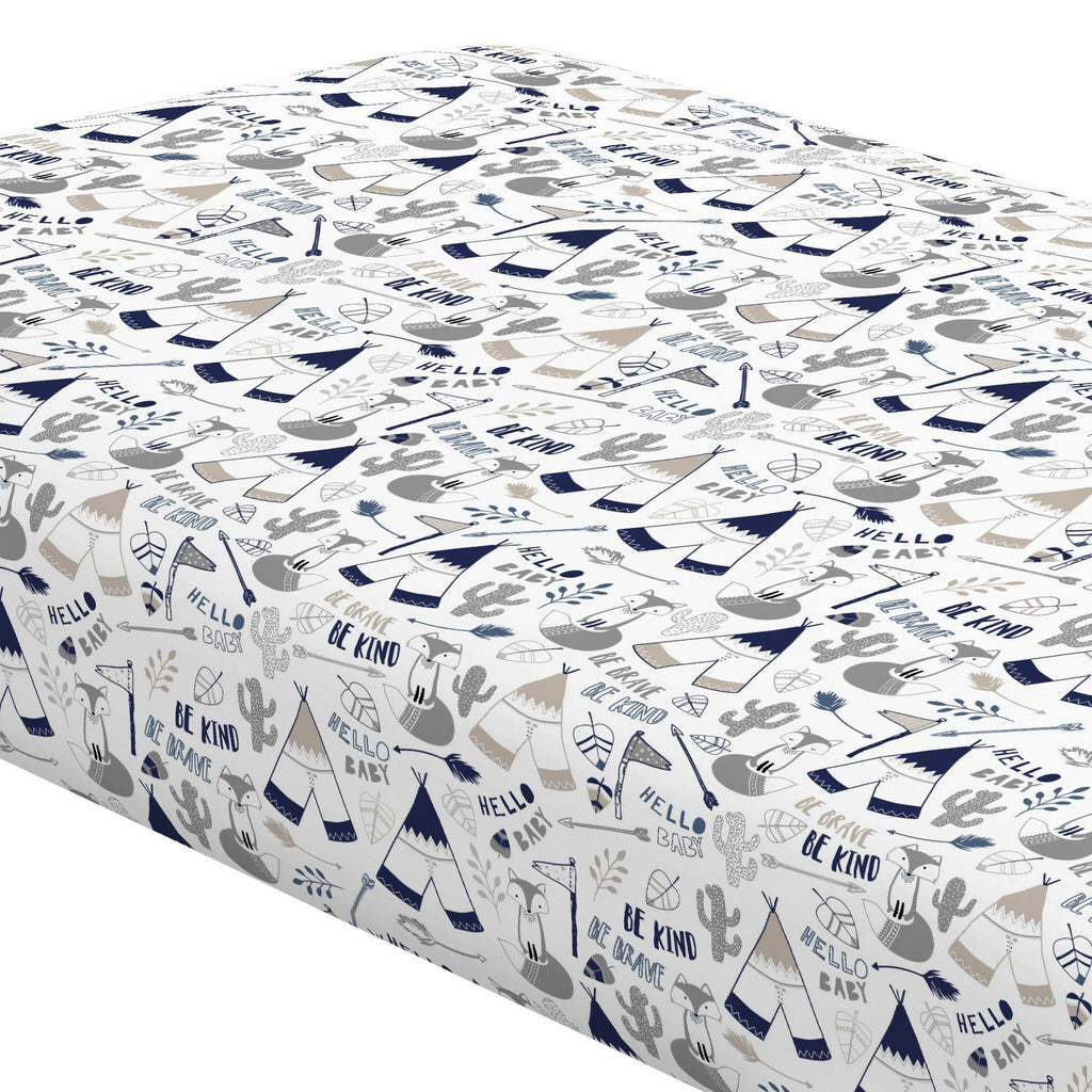 Product image for Navy Brave Fox Crib Sheet