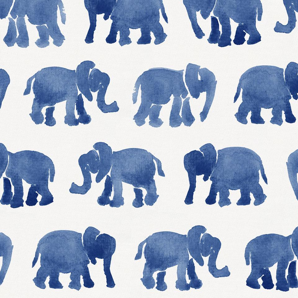 Product image for Blue Watercolor Elephants Crib Skirt Gathered