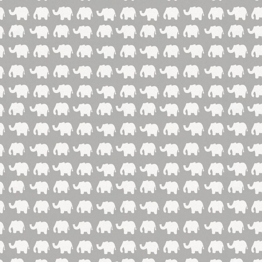 Product image for Gray and White Elephant Parade Crib Skirt Single-Pleat