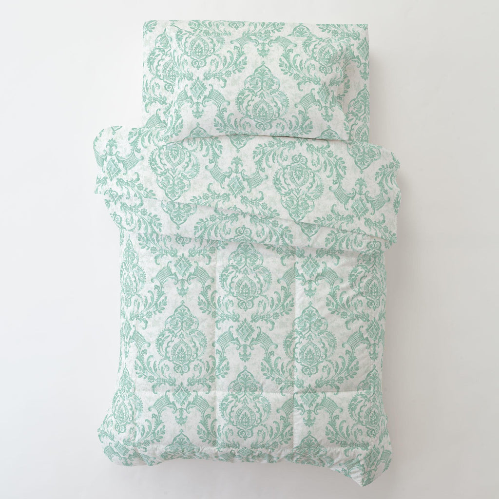 Product image for Mint Painted Damask Toddler Sheet Top Flat