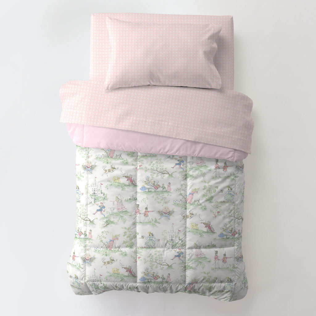 Product image for Pink and Nursery Rhyme Toile Toddler Comforter