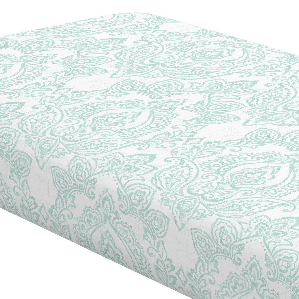 Product image for White and Icy Mint Vintage Damask Crib Sheet