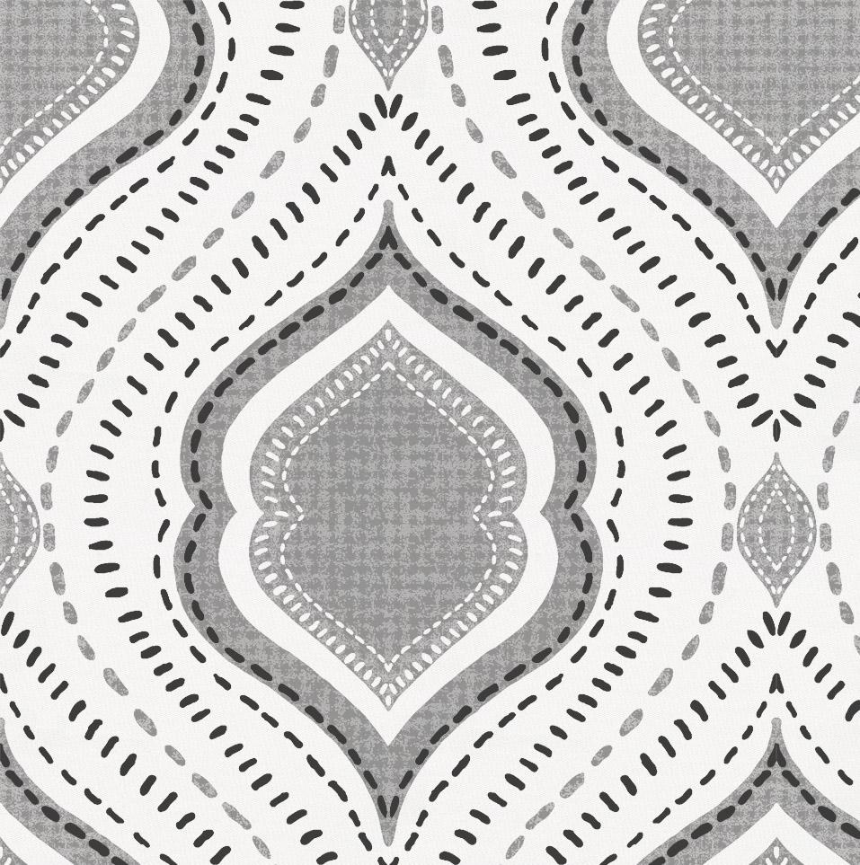 Product image for Gray Moroccan Damask Crib Skirt Gathered