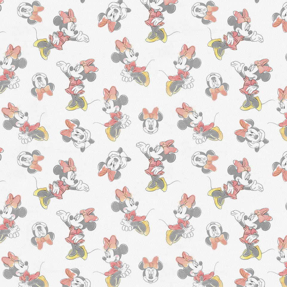 Product image for Disney© Coral Watercolor Minnie Mouse Fabric