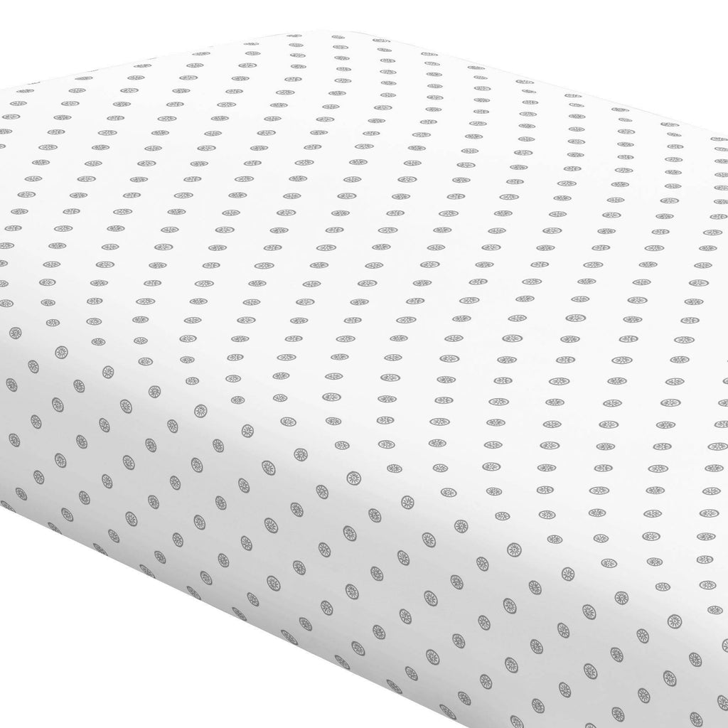 Product image for Cloud Gray Ditsy Dot Crib Sheet
