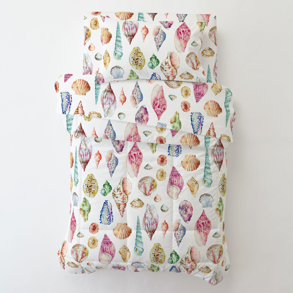 Product image for Watercolor Seashells Toddler Sheet Bottom Fitted