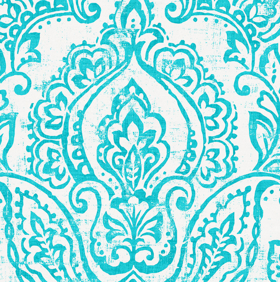Product image for White and Teal Vintage Damask Crib Skirt Gathered