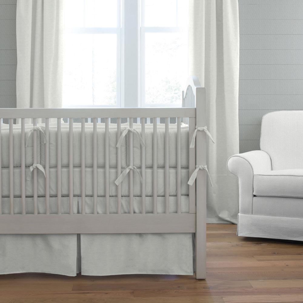 Product image for Silver Gray Linen Crib Rail Cover