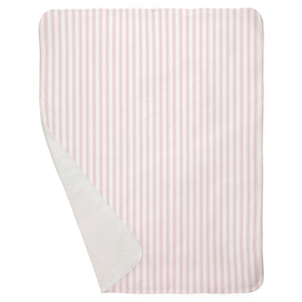 Product image for Bubblegum Pink Ticking Stripe Baby Blanket