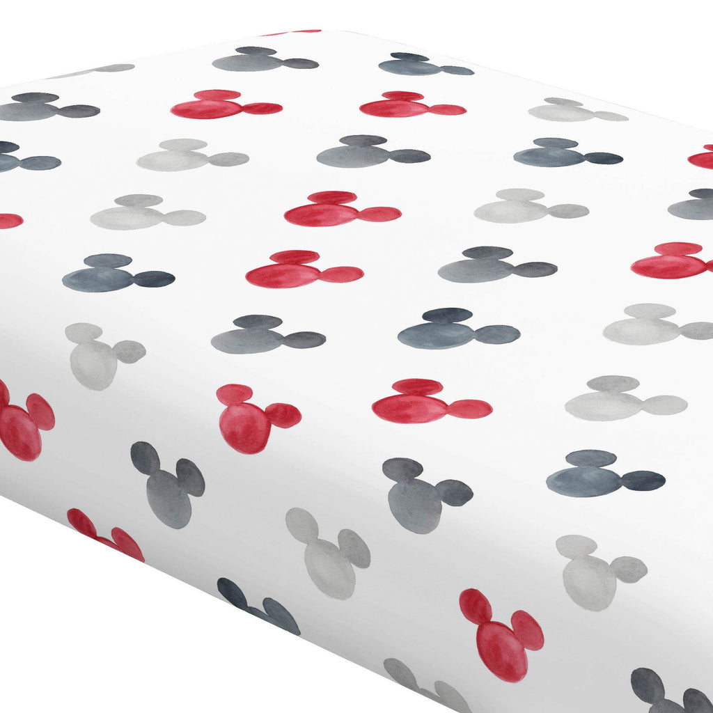 Product image for Disney© Red Watercolor Mickey Ears Crib Sheet
