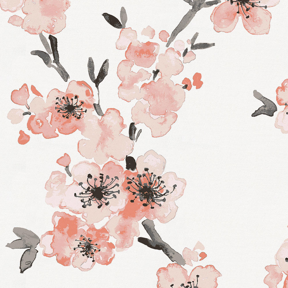 Product image for Light Coral Cherry Blossom Crib Skirt 17-Inch Gathered