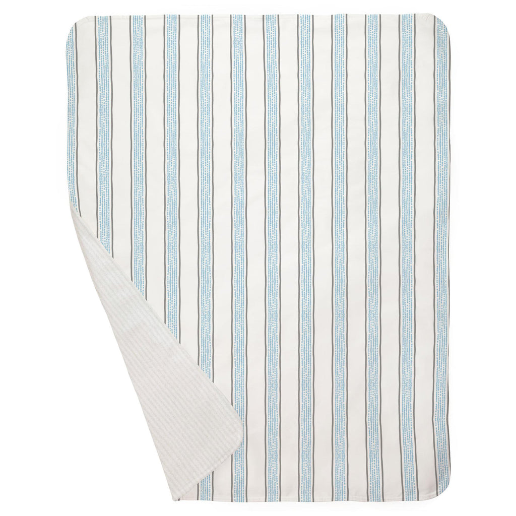Product image for Gray and Lake Blue Beach Stripe Baby Blanket