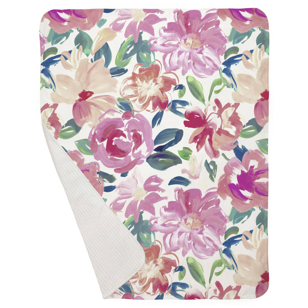 Product image for Pink Brushstroke Floral Baby Blanket