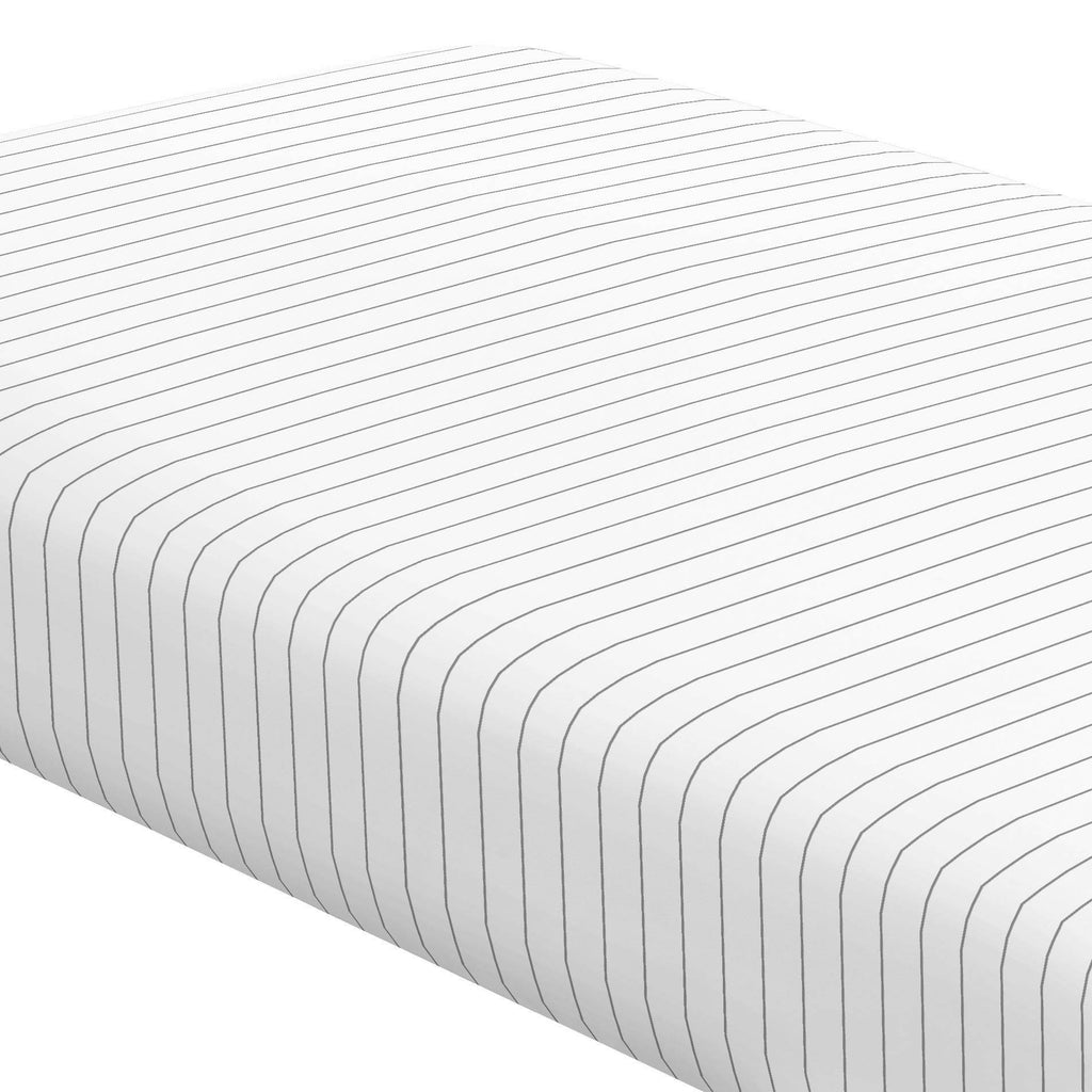 Product image for Cloud Gray Pinstripe Crib Sheet