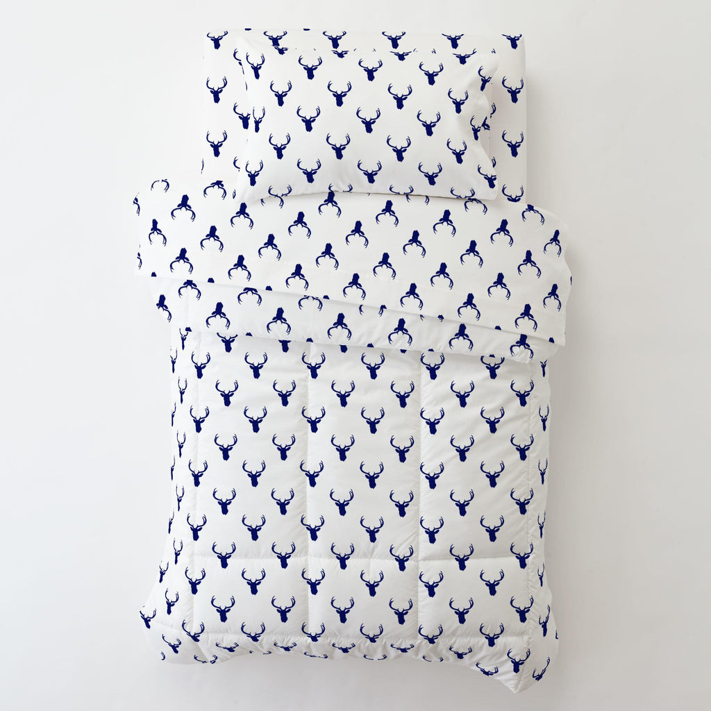 Product image for Navy Deer Silhouette Toddler Pillow Case