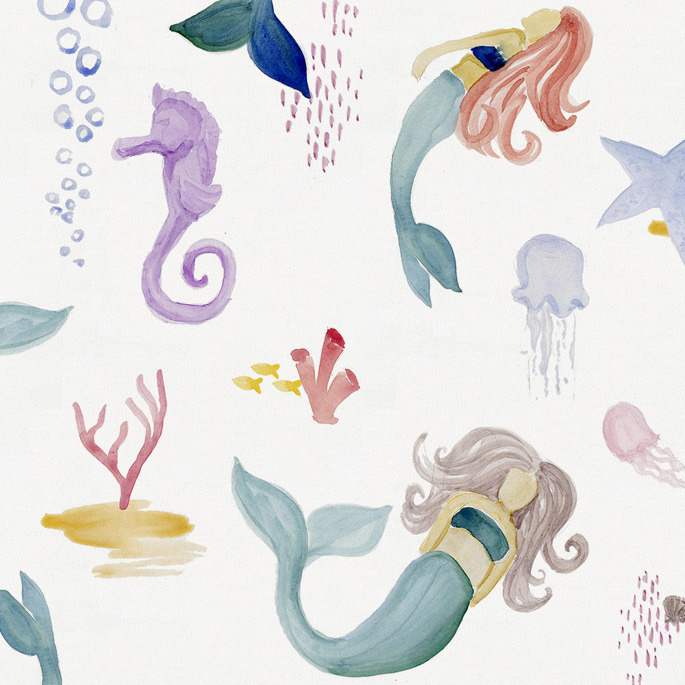 Product image for Watercolor Mermaids Crib Skirt Single-Pleat