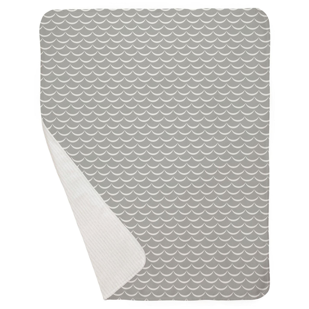 Product image for Silver Gray Waves Baby Blanket