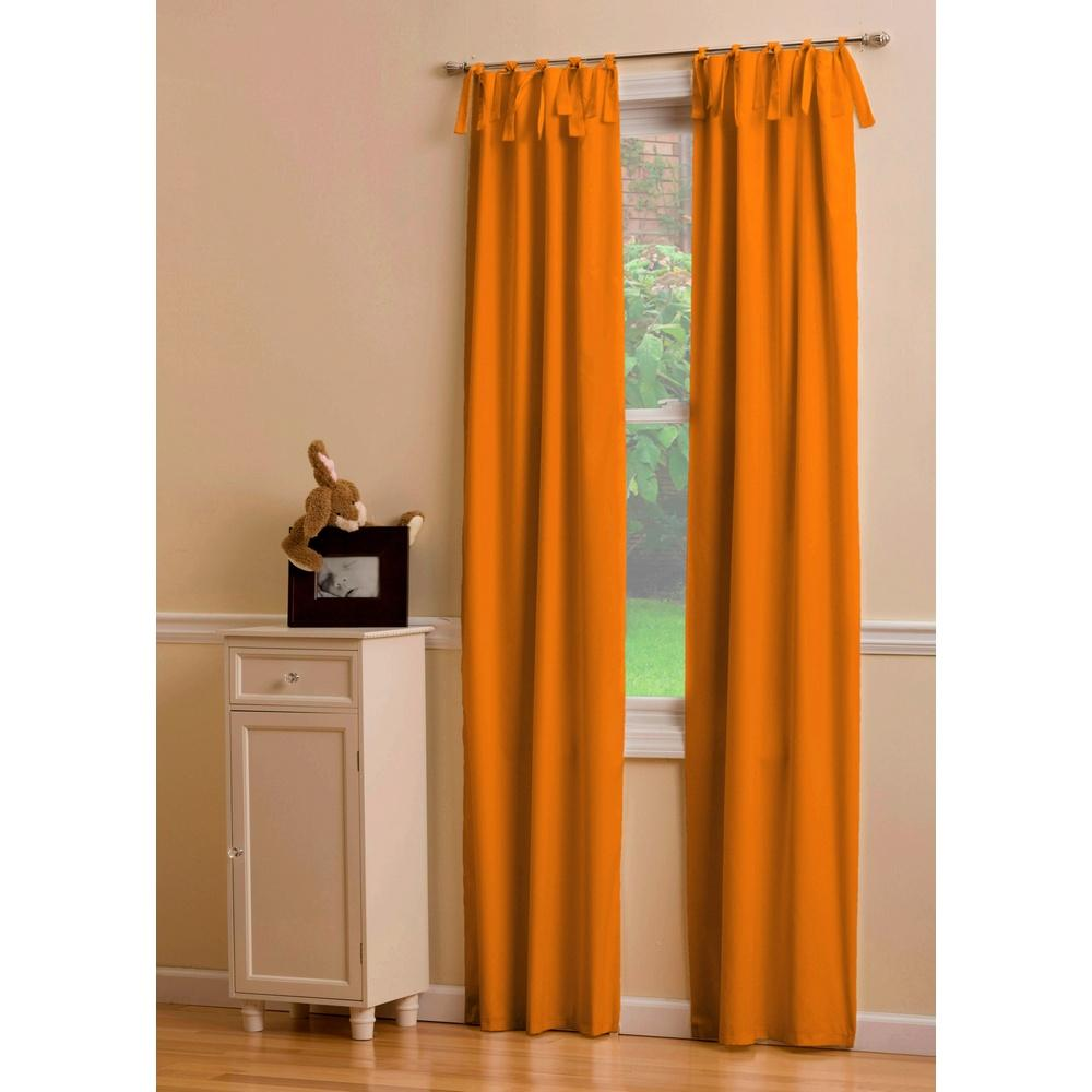 Product image for Solid Orange Drape Panel with Ties