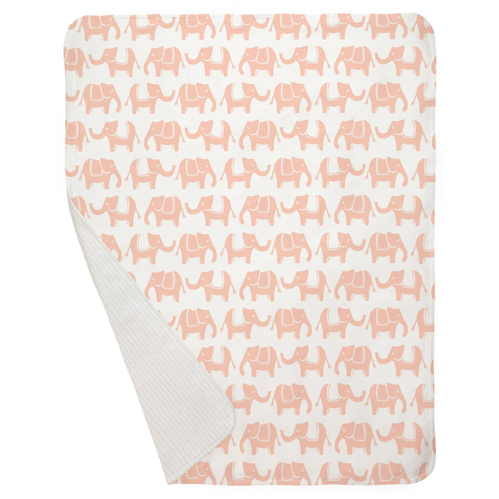 Product image for Peach Marching Elephants Baby Blanket