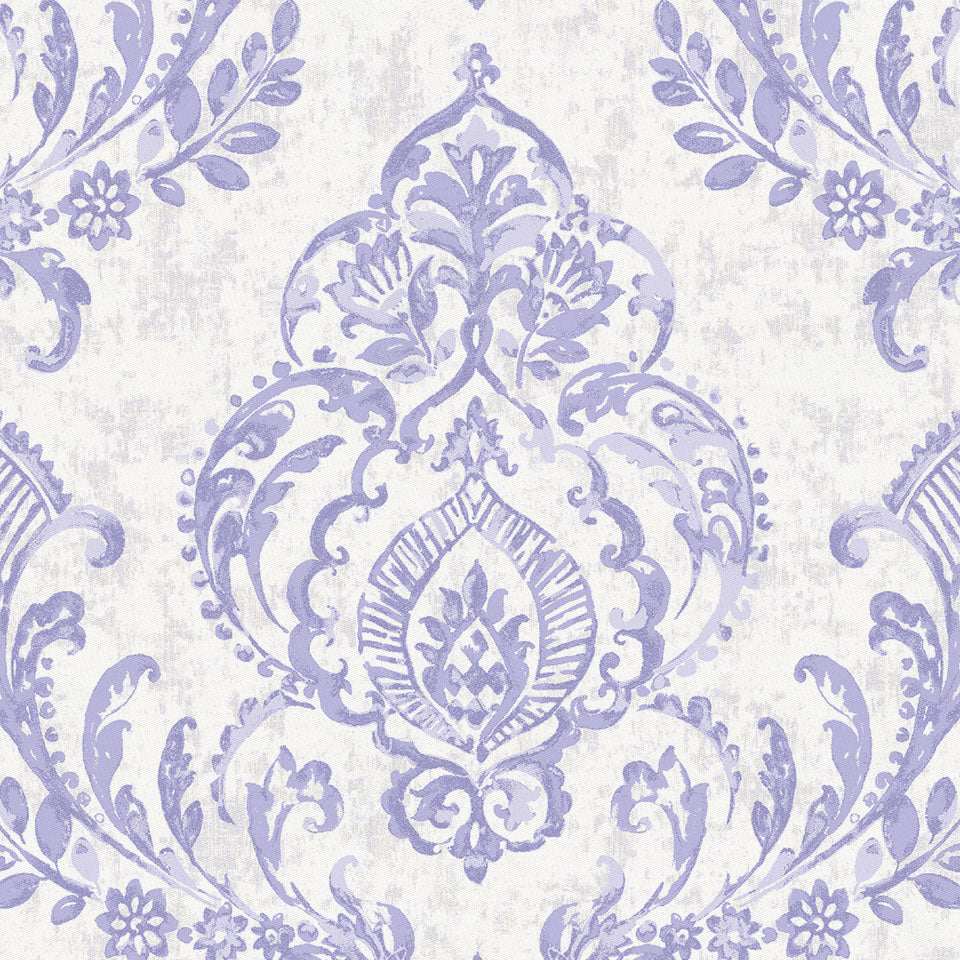 Product image for Lilac Painted Damask Crib Skirt Gathered