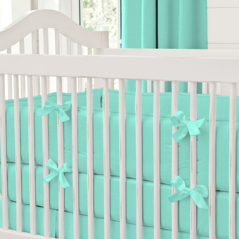 Product image for Solid Teal Crib Bumper