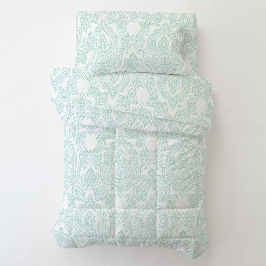 Product image for White and Icy Mint Vintage Damask Toddler Sheet Top Flat