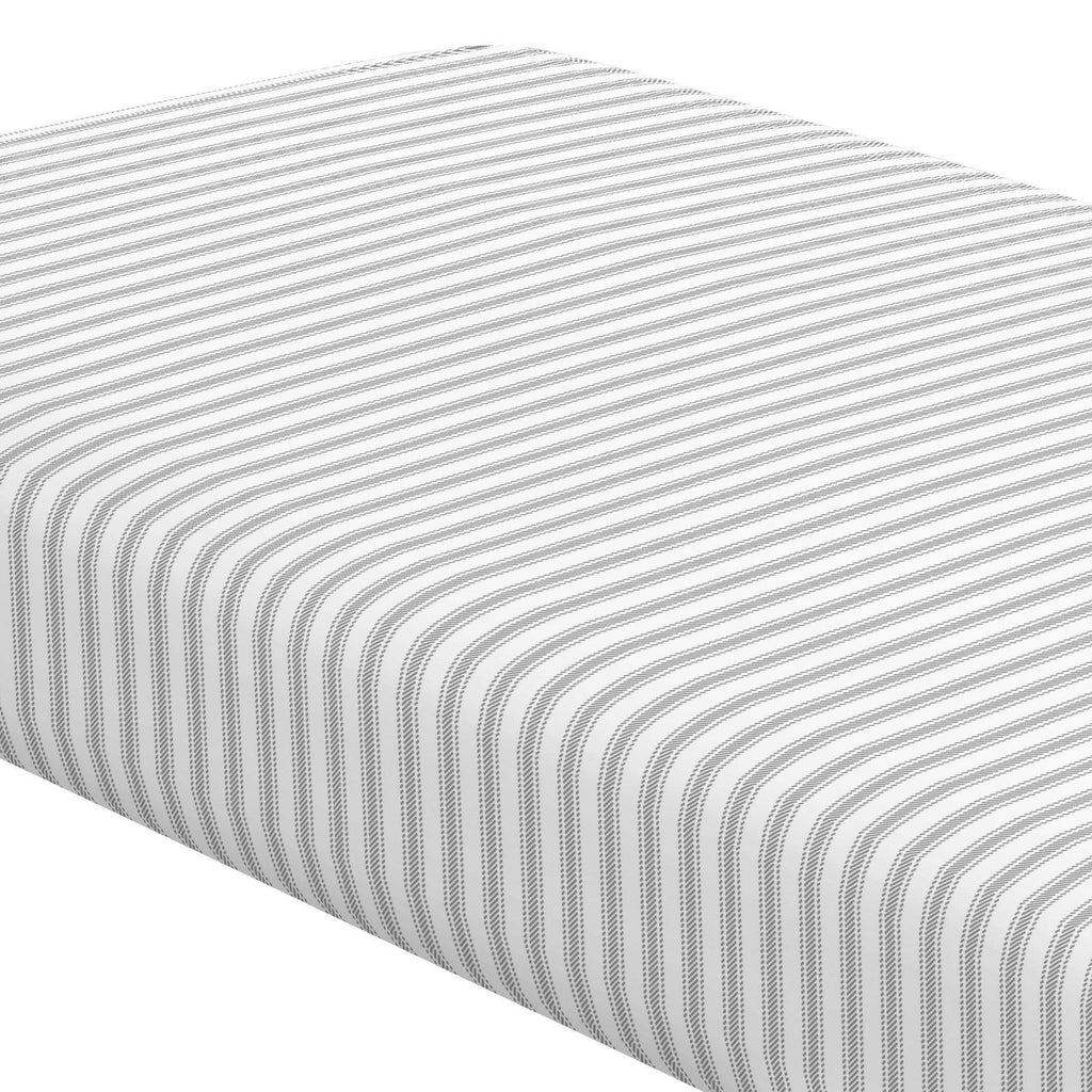Product image for Cloud Gray Ticking Stripe Crib Sheet