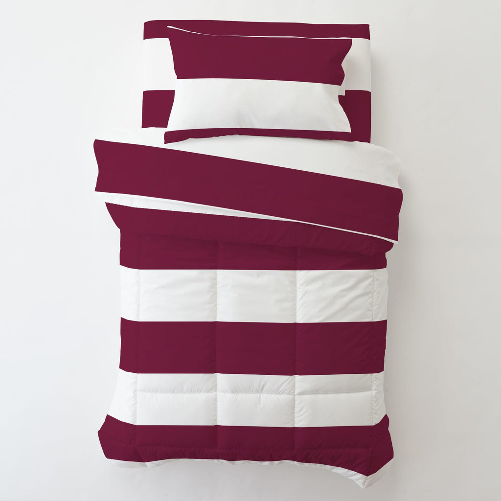 Product image for Maroon Horizontal Stripe Toddler Sheet Bottom Fitted