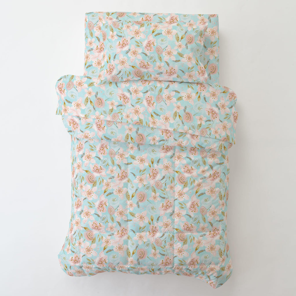 Product image for Aqua and Pink Hawaiian Floral Toddler Sheet Top Flat