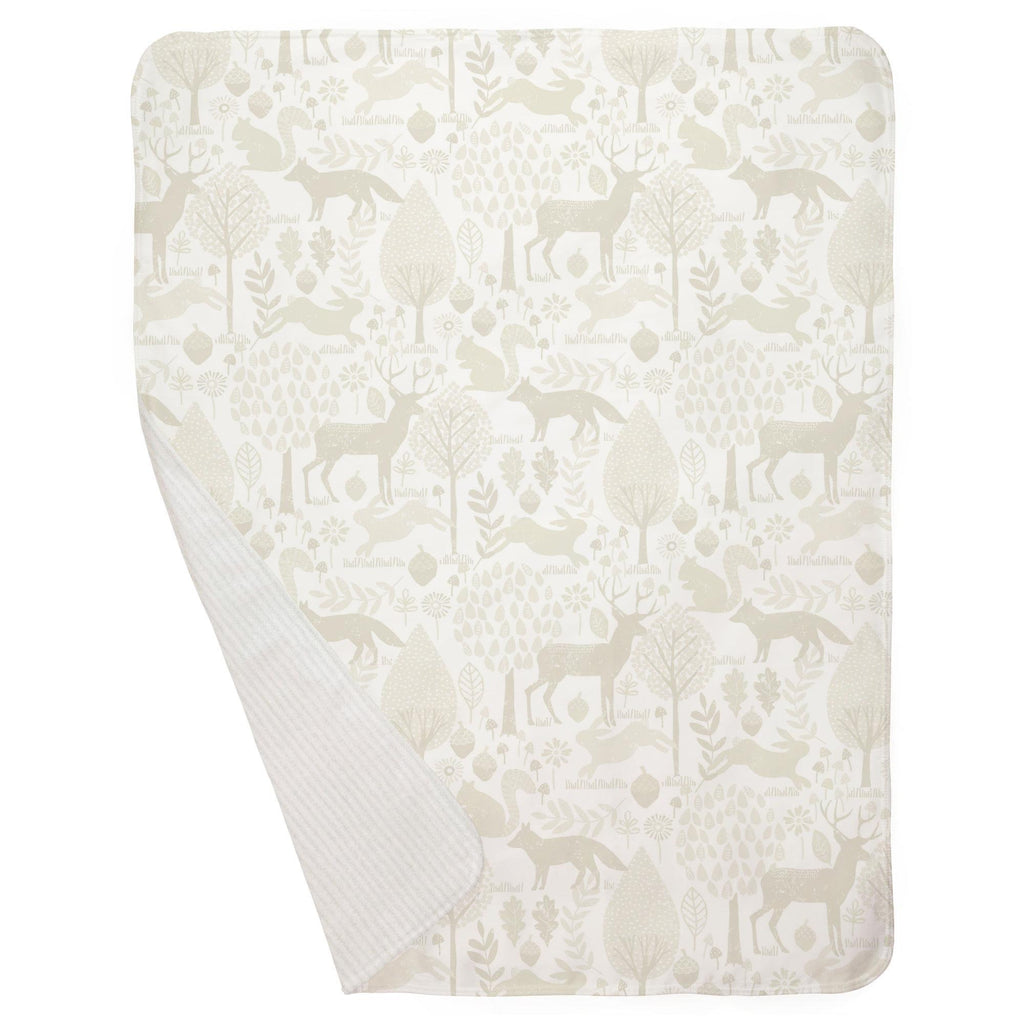Product image for Ivory Woodland Animals Baby Blanket