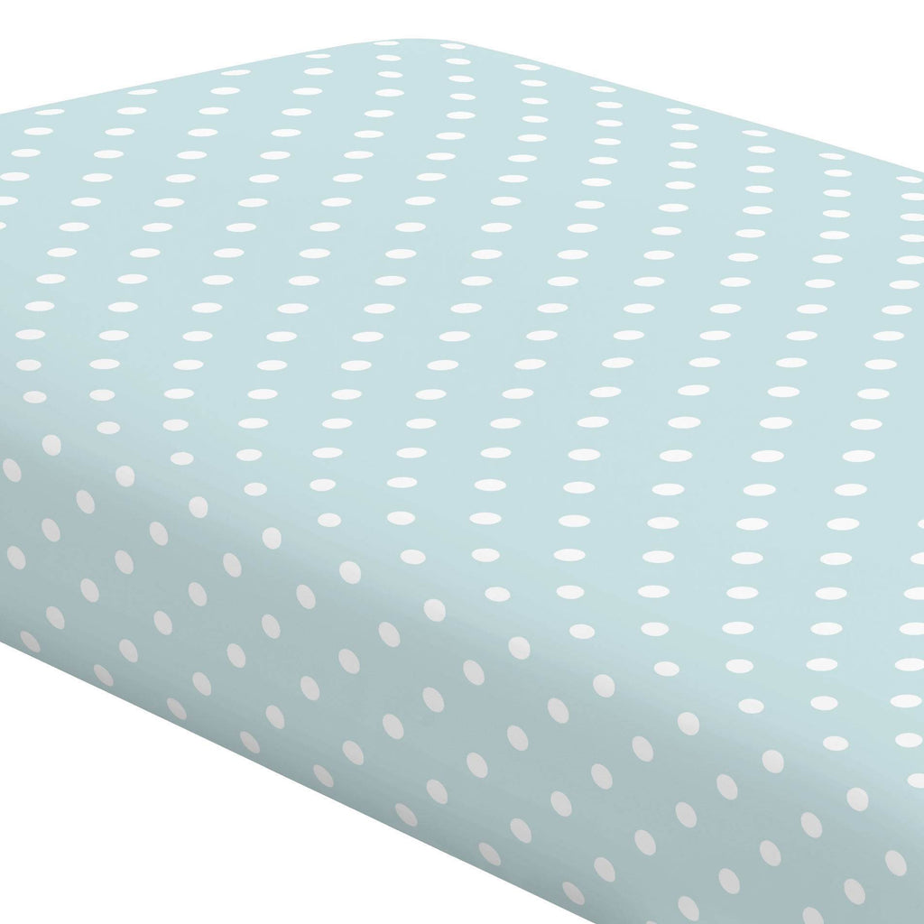 Product image for Mist and White Polka Dot Crib Sheet